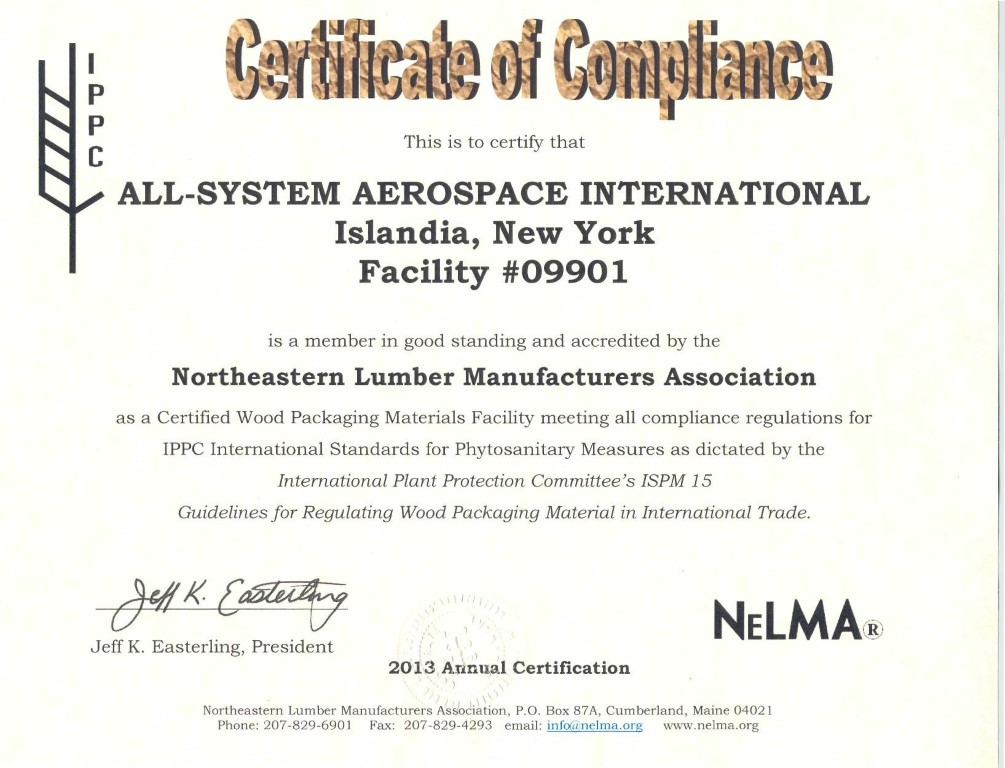 compliance statement template - all system aerospace international inc